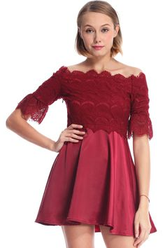 ROMWE | ROMWE Burgundy Short-sleeved Lace Dress, The Latest Street Fashion hashtag #RomwePartyDress
