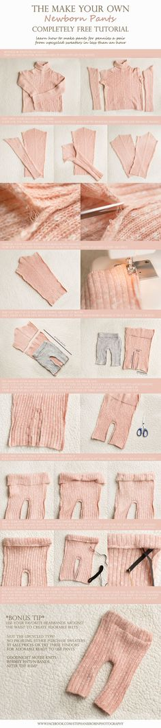 Make your own newborn pants from an old sweater (make a hat to match)Or Doll clothes? Diy Clothing, Sewing Clothes, Couture Bb, Pants Tutorial, Accessoires Photo, Creation Couture, Newborn Photo Props, Newborn Outfits, Baby Crafts