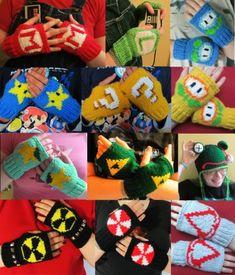 Mario Fire Flower fingerless gloves Nintendo fan art ready to ship