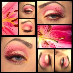 Pink Stargazer Lilly eye art makeup! Flower eye makeup