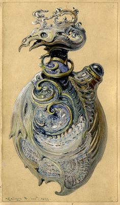 Belá Krieger, design drawing for art nouveau jewelry, 1899. Paris. Via Museum of Applied Arts, Budapest.