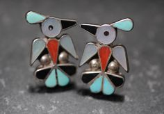 OLD Zuni Inlay Thunderbird Earrings with  Silver Turquoise Onyx and Mother of Pearl by GetStones on Etsy https://www.etsy.com/listing/261168175/old-zuni-inlay-thunderbird-earrings-with