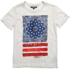Boys pale grey-marl cotton jersey t-shirt byTommy Hilfiger, featuring the designer's signature flag logo with a cool paisley print. The sizes up to two years have poppers on the shoulder to make it easy to pull over your little ones head.<br /> <ul> <li>100% cotton jersey</li> <li>Machine wash (40*C)</li> <li>Sizes 12-18 month and 2 years have poppers at the shoulder</li> </ul>