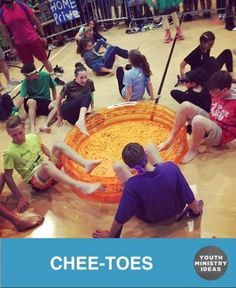 Chee-TOES – You can do it as an upfront game with a few students seeing who can move the most Cheetos out of one area in to another, or as large group relay where teams pass Cheetos down the line. So many ways to use this idea. Photo by View original … Youth Ministry Games, Youth Group Activities, Youth Games, Games For Kids, Ministry Ideas, Youth Groups, Large Group Games For Teens, Teen Games, Abc Games