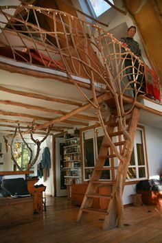 Loft Stairs and Railing whole tree architecture, that's another great way to go, if you don't live in a burn area. Kind of a mix of straw bale and whole tree, I like this