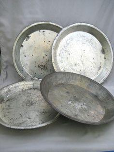 "Vintage 9"" Tin #PiePlates lot of 4"