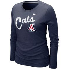 Nike Arizona Wildcats Ladies Angler Tri-Blend Long Sleeve T-Shirt - Navy Blue  $27.95