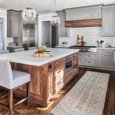 Kitchen Countertop Ideas - Choosing material for your new kitchen countertops means low-maintenance and comfortable kitchen design. Countertop Concrete, Kitchen Countertops, Kitchen Cabinets, Gray Cabinets, Kitchen Walls, Kitchen Backsplash, Wood Kitchen Island, Backsplash Ideas, Rustic Kitchen