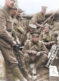 """B' Company, Battalion Scots Guards in the 'Big Willie"""" trench at Loos, September/October (Note the Mills Bomb box to the right of the picture. Each box contained six grenades - three at each end - with a tin containing the igniter sets in the middle. Ww1 Photos, History Photos, Ww1 Pictures, World War One, First World, Commonwealth, British Army, British Soldier, British History"""