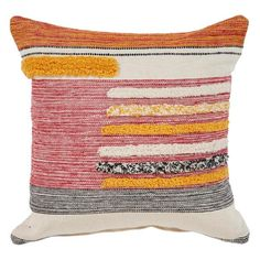LR Resources LR Home Lines Stripes Gradient Abstract Multi Natural Throw Pillow ( 18 x 18 )