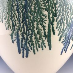 Close up of blue and green mocha diffusion drips on a large Vase. www.kowalskipottery.com for more information