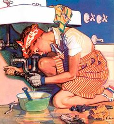 Women get it done! ~ Liberty magazine cover illustration by Herbert Paus, ca. 1940s.