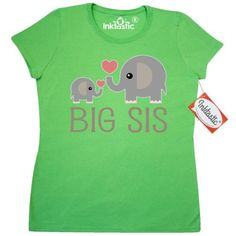 Inktastic Big Sis Elephant Women's T-Shirt Sister Siblings Cute Girls Childs Matching Family Clothing Apparel Tees Adult Hws, Size: XL, Green