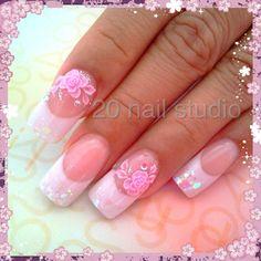 Romantic Rose and Crystal Nails! Romantic Nails, Romantic Roses, Super Cute Nails, Pretty Nails, 3d Nails, Pink Nails, Nail Salons, Crystal Nails, French Nails