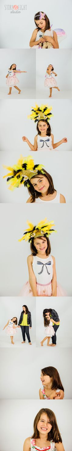 Fun studio portrait session of little girl and her mum