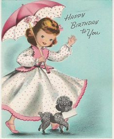 Vintage Poodle Birthday Card did you ever receive a Poodle birthday card???