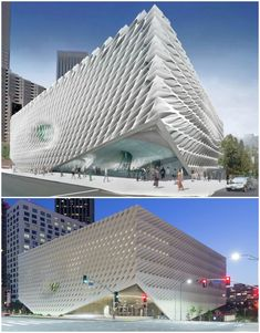 Making Sense of The Broad: A Milestone in the Revitalization of Downtown Los Angeles,The proposed facade compared to the design as-built. Top image courtesy of Diller Scofidio + Renfro; bottom image © Iwan Baan