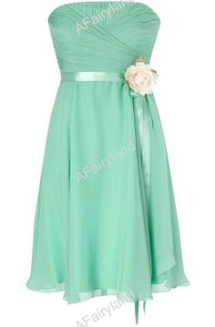 Mint green chiffon prom/party/bridemaid dress in knee-length with ribbon and flower on Etsy, $79.00