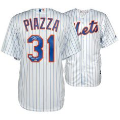 MIKE PIAZZA New York Mets Autographed White Pinstripe Replica Jersey with HOF 16 Inscription FANATICS - Game Day Legends