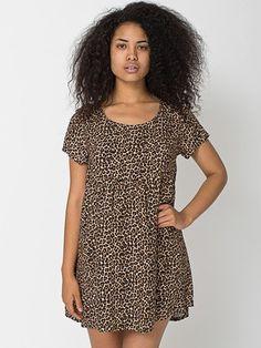 Printed Rayon Challis Babydoll Dress