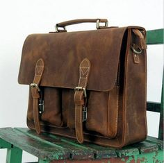 Vintage Handmade Crazy Horse Leather Briefcase / Messenger Bag -- with a Laptop / MacBook SleeveThis handmade leather bag is made with selected materials. The properties of Antique Crazy Horse leather and vintage design make this item unique. Macbook Bag, Macbook Sleeve, Mac Book, Crazy Horse, Vintage Leather, Leather Men, Leather Satchel For Men, Leather Jackets, Pink Leather