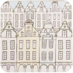 Rosa & Clara Designs - Flemish Townhouses Coasters Set of Four ($23) ❤ liked on Polyvore featuring home, kitchen & dining, bar tools and christmas coasters