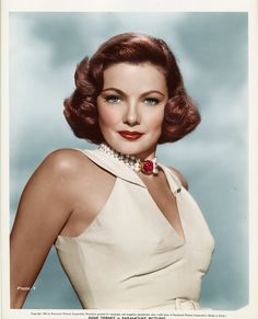 Gene Tierney (November 19, 1920 – November 6, 1991),  uploaded by  www.1stand2ndtimearound.etsy.com