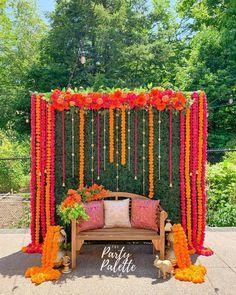 (C) thepartypalette   Marigold backdrop for Haldi Decor   Mehendi backdrop   #wittyvows #bridesofwittyvows #haldidecor #mehendidecor #haldibackdrop #mehendibackdrop #floraldecor Floral Wedding Decorations, Backdrop Decorations, Floral Centerpieces, Flower Arrangements, Backdrops, Wedding Ideas, Hanging Garland, Hanging Flowers, Flower Garlands