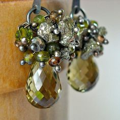Sale Olive Green Earrings Gemstone Wire Wrap Chandelier by Kande