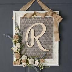 framed monogram wreath - unique decor ideas - DIY home decor ideas