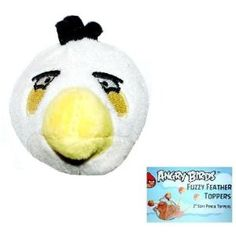 Angry Birds Plush - Fuzzy Feather Toppers - WHITE BIRD (2 inch) (Toy)