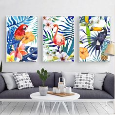 Tropical Jungle Flamingo & Parrot Canvas Print, Wall Art, Poster, Airbnb Home Decor. x 60 cm / x in) Home Decor Paintings, Home Decor Wall Art, Canvas Wall Art, Canvas Prints, Art Prints, Flamingo Painting, Paris Wall Art, Watercolor Canvas, Tropical Art