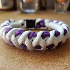 Paracord Typ III-Armband-Thin Lila Line-Awareness-Ribbon-Edelstahl Charm