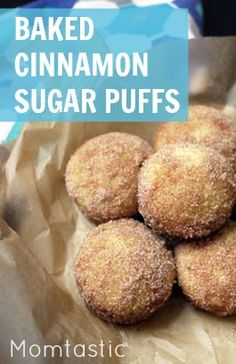 Light and toasty cinnamon sugar buffs- baked right in your oven! Desserts To Make, Great Desserts, Dessert Ideas, Food To Make, Dessert Recipes, Breakfast Ideas, Breakfast Recipes, Cinnamon Sugar Muffins, Sugar Puffs