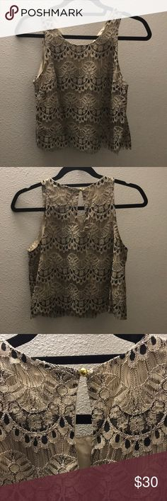 Crop Top NWT Maison Jules Lace Crop Top Size S Keyhole detail on back Maison Jules Tops Crop Tops