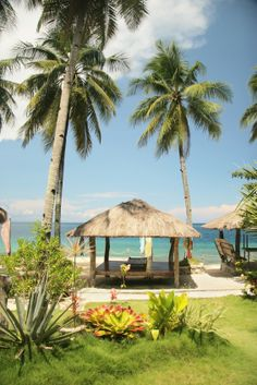 philippine beach scence | Huts on the beach are a common site in the Philippines