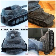 Crochet Bear Crochet Panzer Tank Slippers - The Tank Slippers look so cool and creative. They could be a very special gift, especially for Tank enthusiasts. Crochet Cocoon Pattern, Crochet Slipper Pattern, Crochet Tank, Crochet Bear, Crochet Baby Booties, Crochet Slippers, Cute Crochet, Crochet Patterns, Crochet Appliques