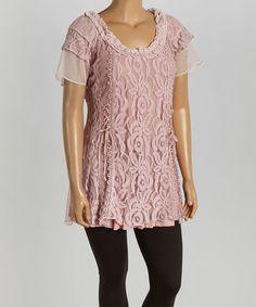 Look at this #zulilyfind! Mauve Lace Silk-Blend Flutter-Sleeve Tunic - Plus by Pretty Angel #zulilyfinds