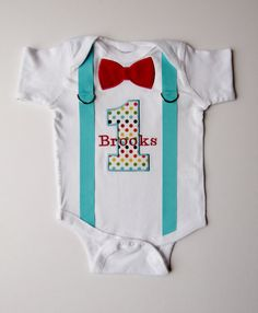 Circus First Birthday Suspenders Personalized Bow Tie 1 For 1st Birthday Boy Polka Dot Rainbow on Etsy, $28.00