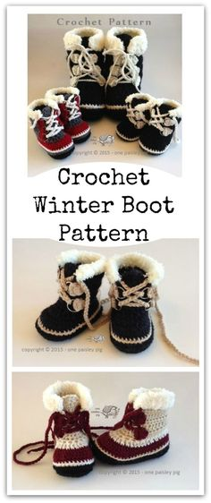 All Sizes - Winter Boots (Sorel Pacs Style) - PDF CROCHET PATTERN #ad #affiliate