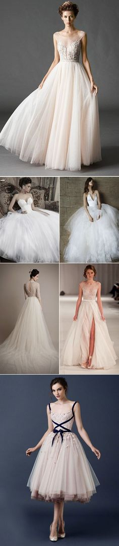 Tulle Ball Gown Wedding Dresses 2015 love the structured bodice ballgown and the halter neck looking one next to it! Also the last one but as a party dress, not a wedding dress. 2015 Wedding Dresses, Wedding Gowns, Prom Dresses, Beauty And Fashion, Beautiful Gowns, Dream Dress, Bridal Gowns, Wedding Styles, Marie