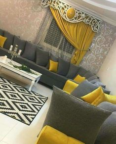 Yellow and Grey Living Room Decor. 20 Yellow and Grey Living Room Decor. Livig Room Decorating with Gray and Yellow Color From Homes Living Room Decor Grey Couch, Living Room Decor Curtains, Home Living Room, Interior Design Living Room, Living Room Designs, Apartment Living, Apartment Furniture, Living Room Color Schemes, Living Room Colors