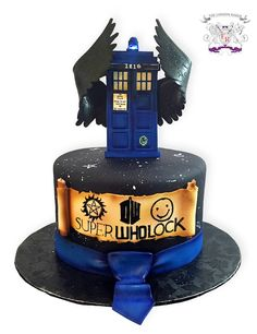 This SuperWhoLock Cake Has It All I need this......I wouldn't eat it, it's to pretty... I just.....wantbit
