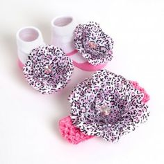 Infant Leopard Print Flower and Booties Set for $6.49