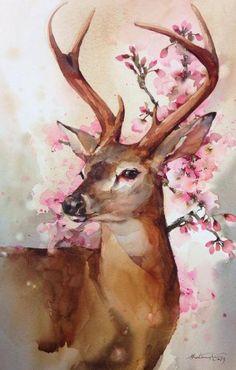 #森·水彩#泰国画家Phatcharaphan Chanthep笔下的小动物,唯美清新~