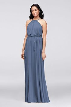 Soft, flowy, and versatile, this long mesh high-neck halter gown can be cinched with its waist-defining sash, or worn without for a loose and relaxed look.   Polyester  Pullover styling; fully l