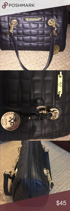 Versace 19.69 Abbigliamento sportivo SRL bag NWOT Bowling bag type satchel .. never used.  Quilted pattern on outside & zip and two self own pockets inside.  Gold hardware. Perfect condition. versace sportivo Bags Shoulder Bags