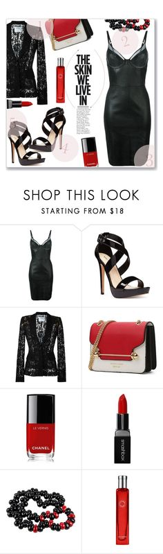 """BLACK DRESS"" by jckallan ❤ liked on Polyvore featuring Jitrois, Nine West, Moschino, Chanel, Smashbox, Kai, Hermès, LBD and contestentry"
