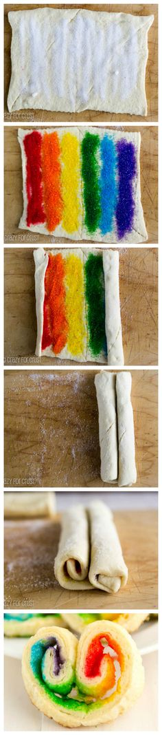 How to make Rainbow Palmiers, Yummy Treats, Delicious Desserts, Sweet Treats, Yummy Food, Cupcakes, Cupcake Cakes, Cake Cookies, Rainbow Desserts, Rainbow Food