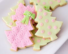 pink & green christmas trees